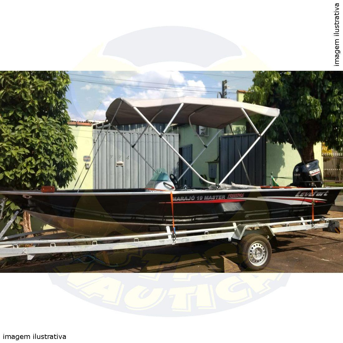 Capota Toldo Lancha Big Fish 5514 Flex Acrílica 4 Arcos Tubo 1 1/4