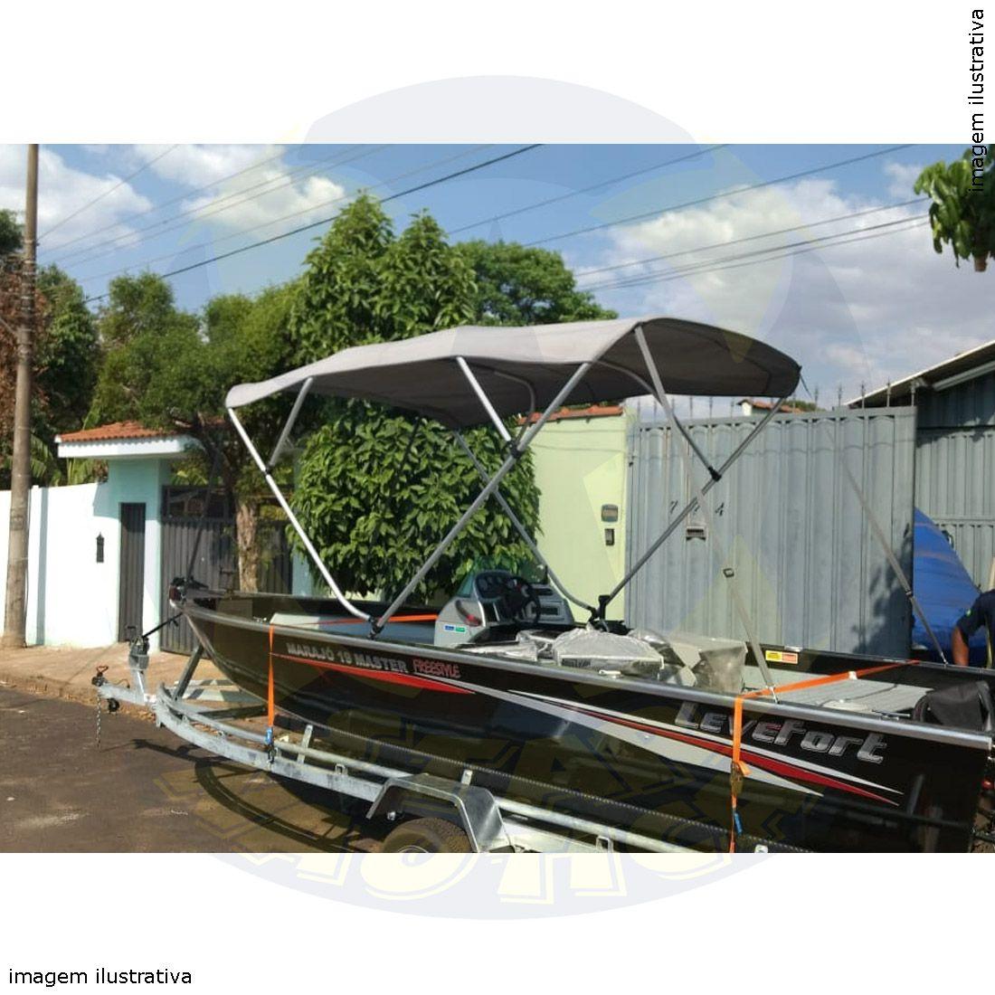 Capota Toldo Lancha Big Fish 5514 Flex Poliéster 4 Arcos Tubo 1 1/4