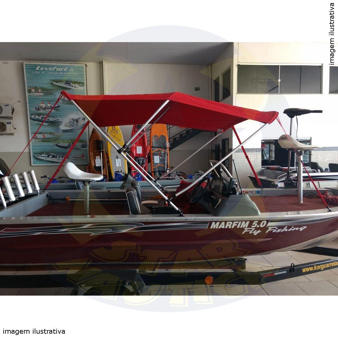 Capota Toldo Lancha Big Fish 5514 Flex Vinílica 3 Arcos Tubo 1 1/4