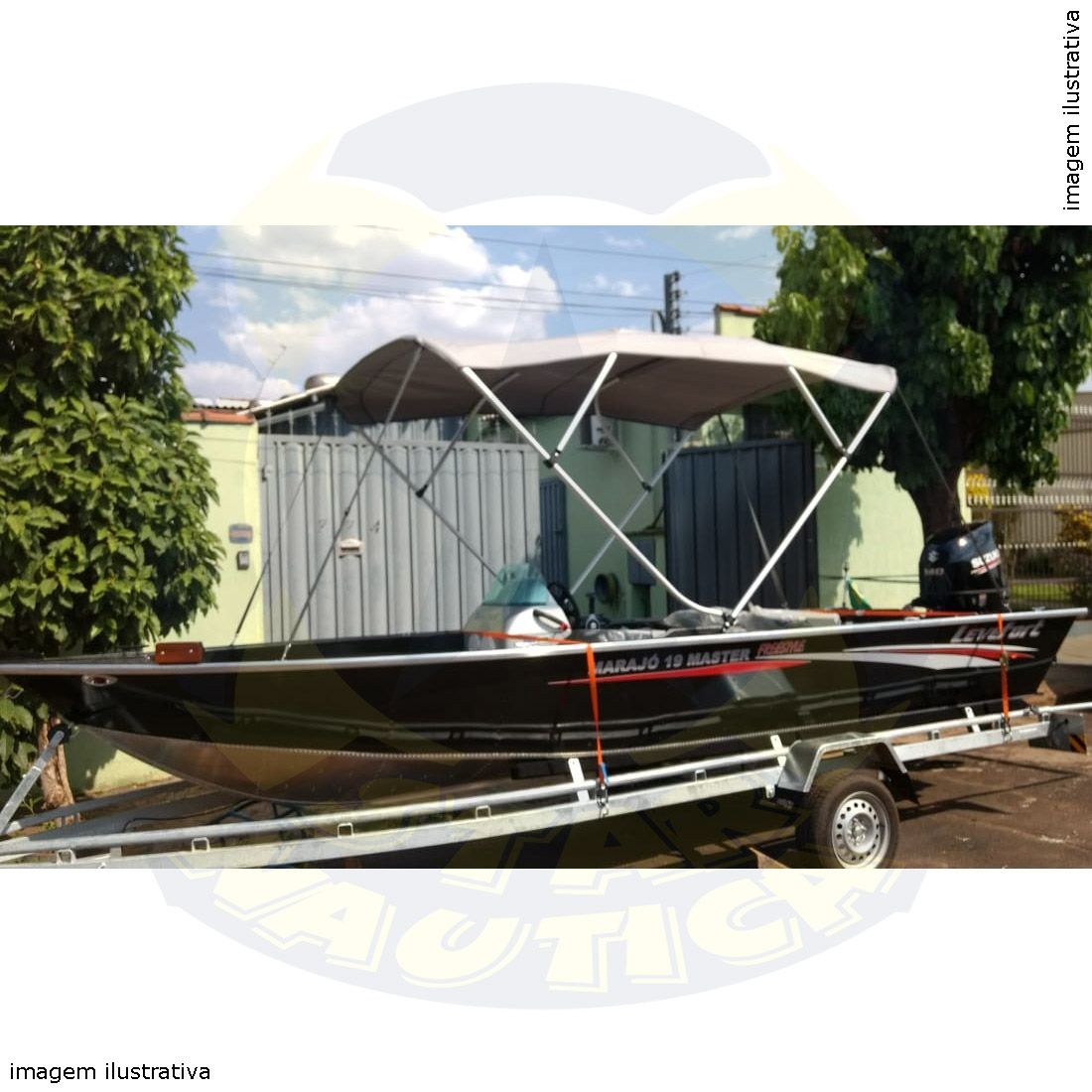 Capota Toldo Lancha Big Fish 5514 Flex Vinílica 4 Arcos Tubo 7/8