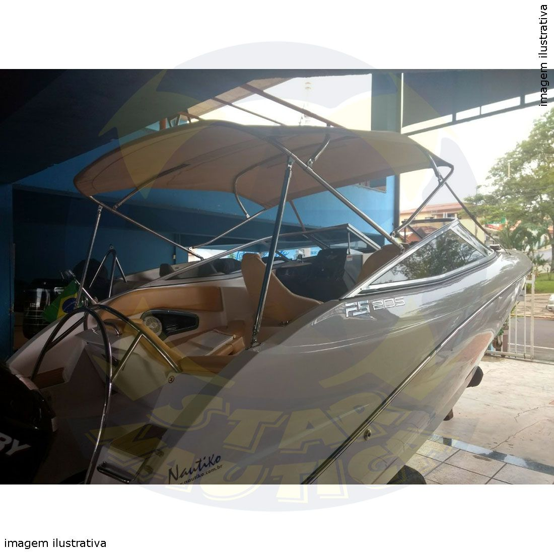 Capota Toldo Lancha Focker 230 Poliéster 4 Arcos Tubo 1 1/4