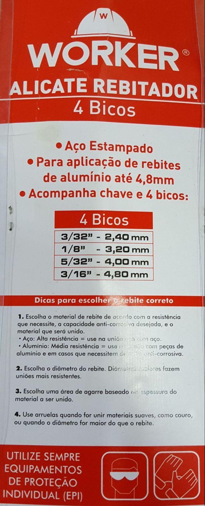 Alicate Rebitador Com 4 Pontas - Worker