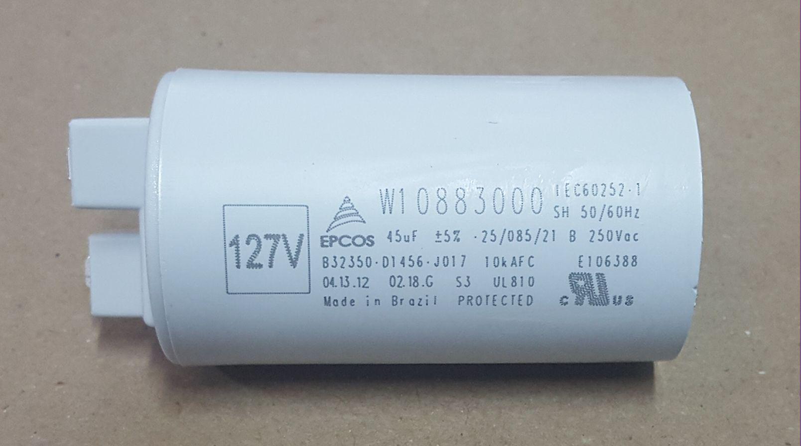 CAPACITOR PARA LAVADORA BRASTEMP CLEAN  45UF 127/250V