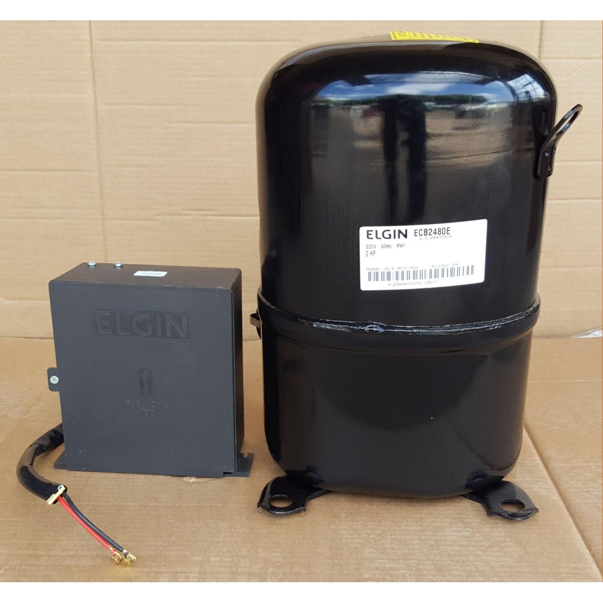 COMPRESSOR ELGIN 2 HP - ECB-2480-E - R404A (380v) - (FRETE GRÁTIS)