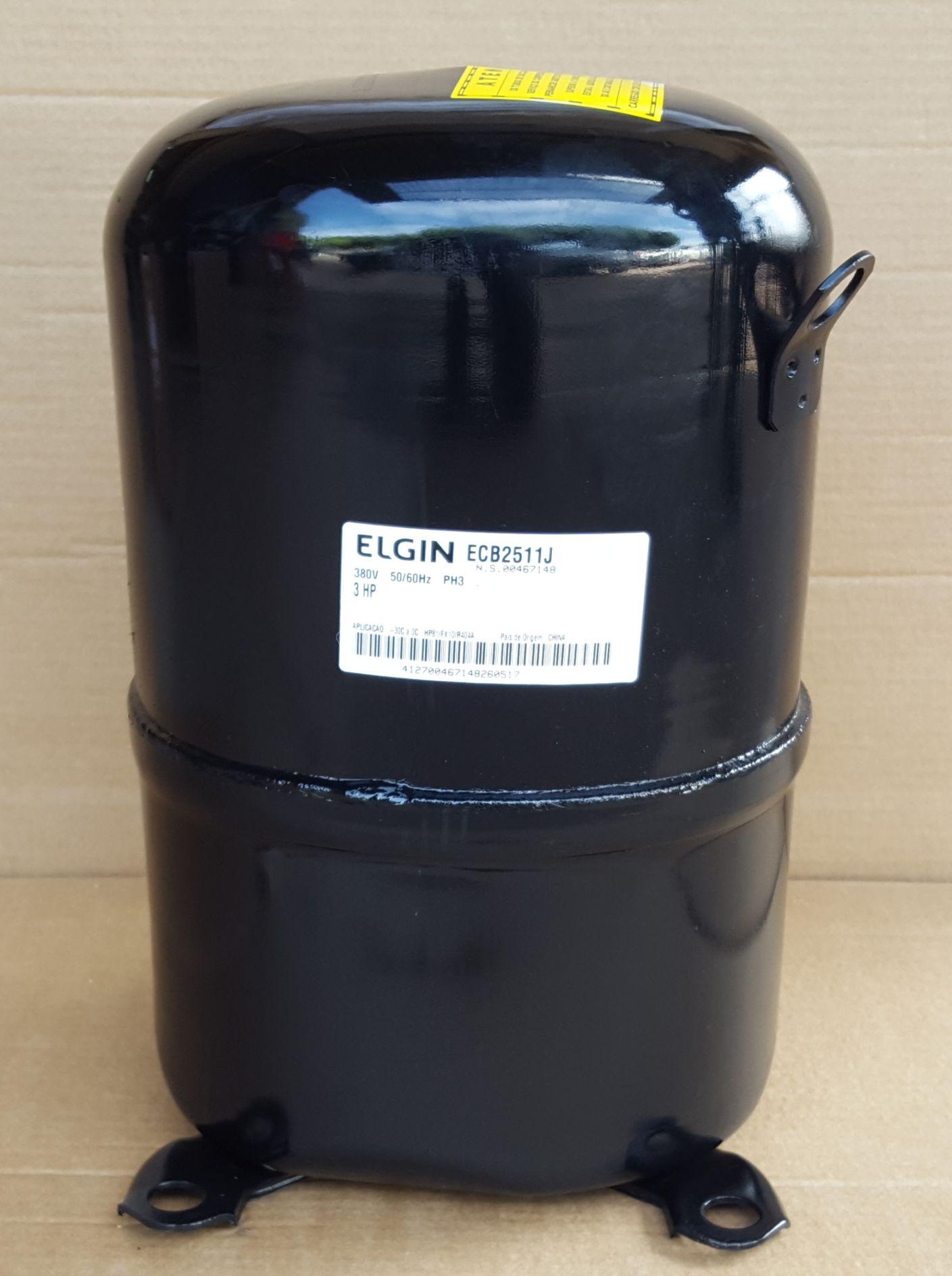 COMPRESSOR ELGIN 3 HP - ECB-2511-J - R404A (380v) - (FRETE GRÁTIS)