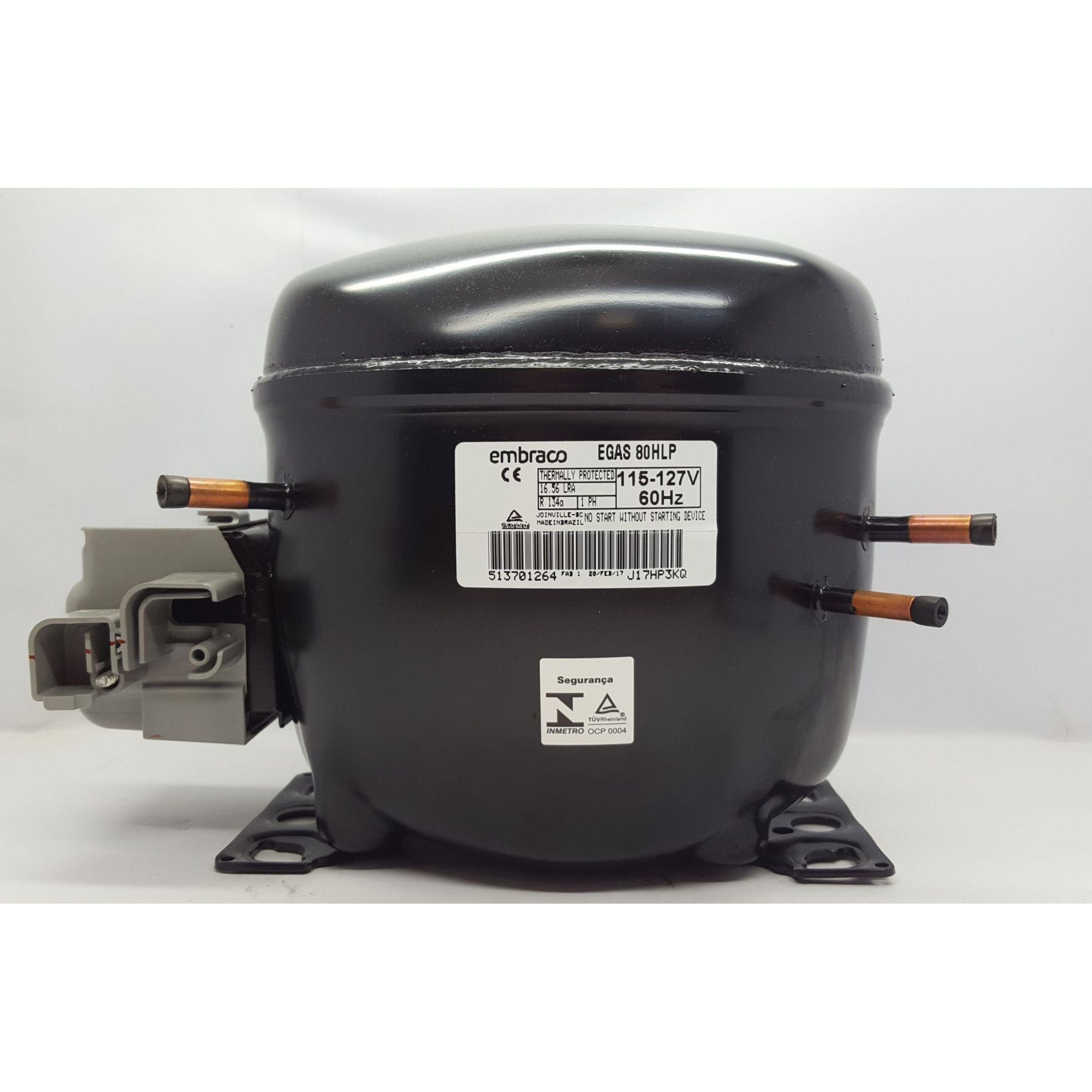 MOTOR PARA GELADEIRA E FREEZER - COMPRESSOR EMBRACO 1/4 HP - EGAS 80HLP - R134a (110v)
