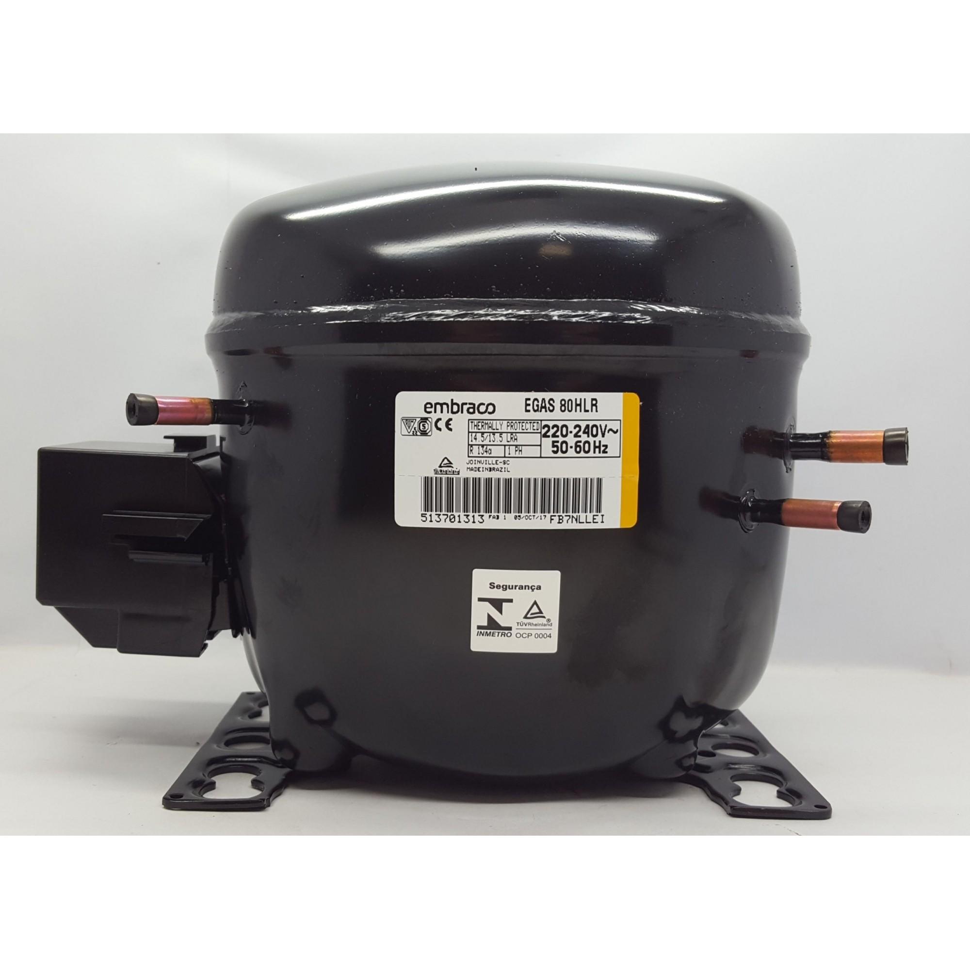 MOTOR PARA GELADEIRA E FREEZER - COMPRESSOR EMBRACO 1/4+ HP - EGAS 80HLR - R-134a (220v)