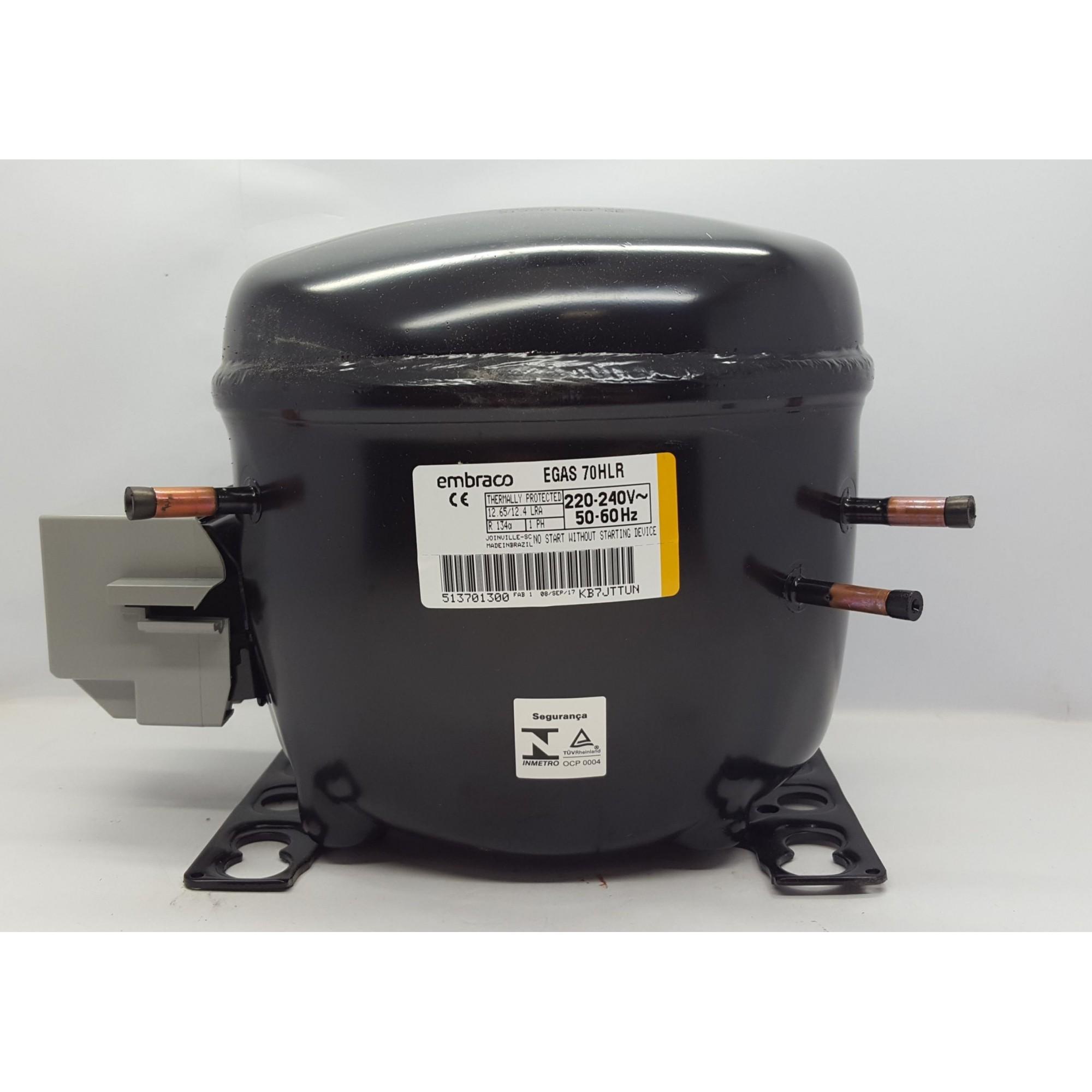 MOTOR PARA GELADEIRA E FREEZER - COMPRESSOR EMBRACO 1/5+ HP - EGAS 70HLR - R134a (220v ou 110v)