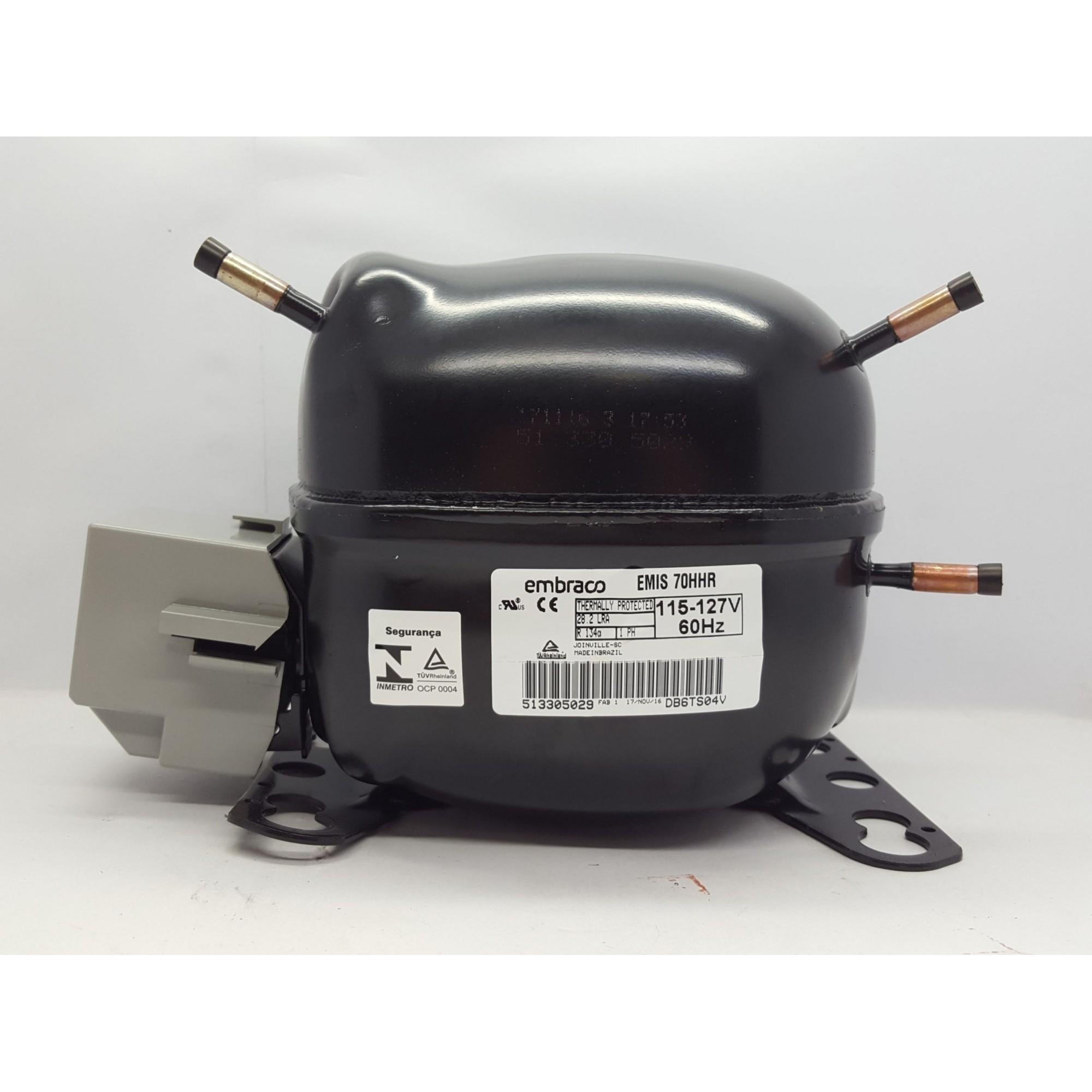 MOTOR PARA GELADEIRA E FREEZER - COMPRESSOR EMBRACO 1/5 HP - EMI 70HER / EMIS 70HHR - R134a (220v ou 110v)