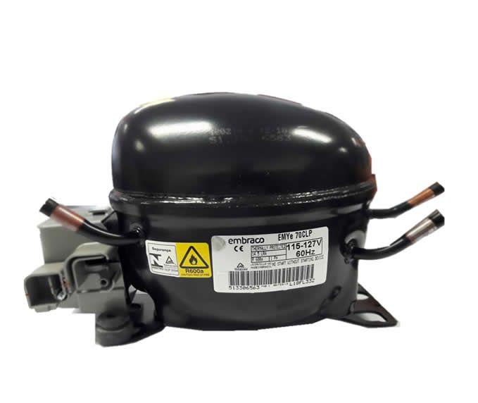 MOTOR PARA GELADEIRA E FREEZER - COMPRESSOR EMBRACO 1/5 HP - EMYe 70CLP - R-600a - 110v