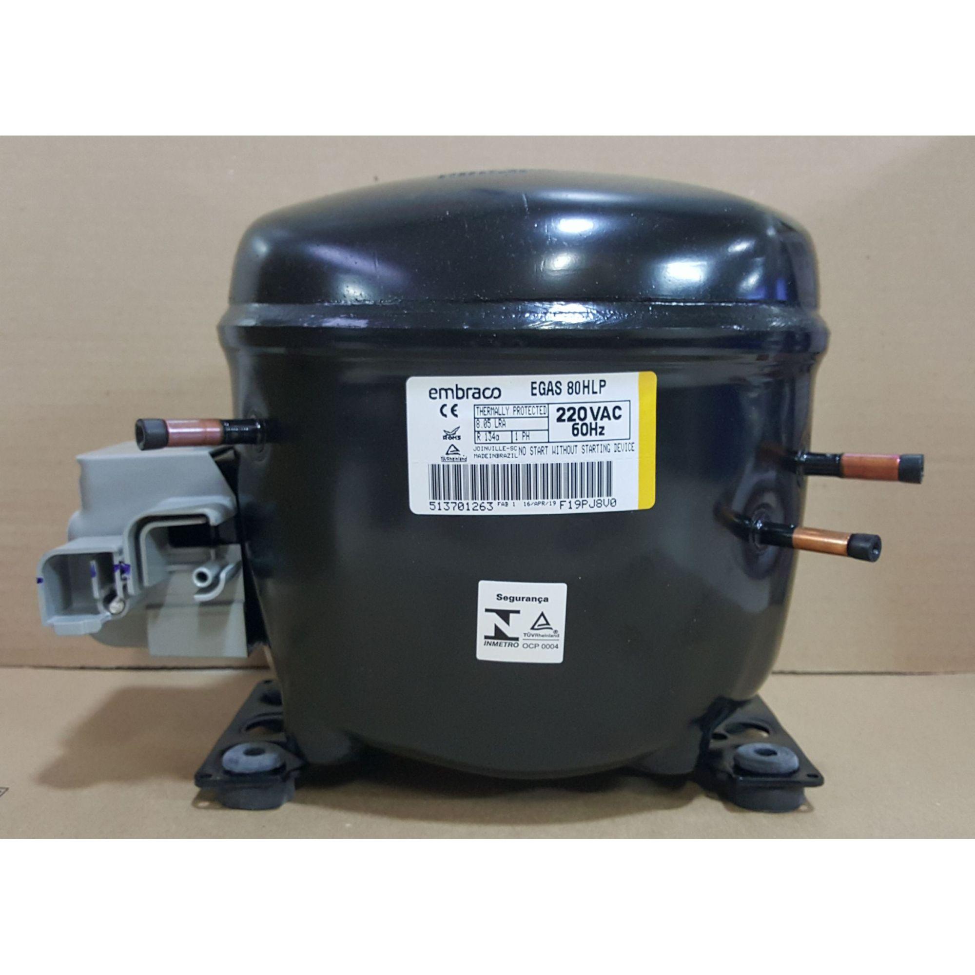 MOTOR PARA GELADEIRA E FREEZER ELECTROLUX - COMPRESSOR EMBRACO 1/4+ HP - EGAS 80HLP - R-134a (220v)