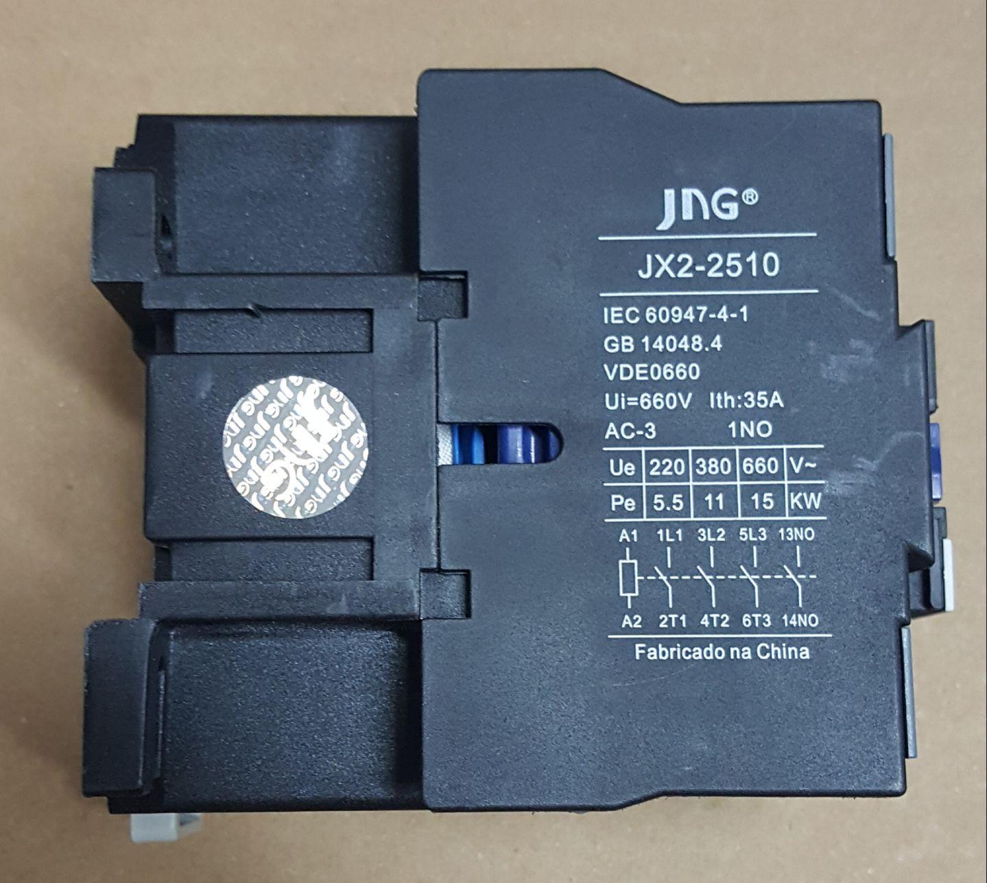 CONTATOR AUXILIAR CJX2-2510 (25 AMPERES) 380V FAIXA AJUSTE 35A