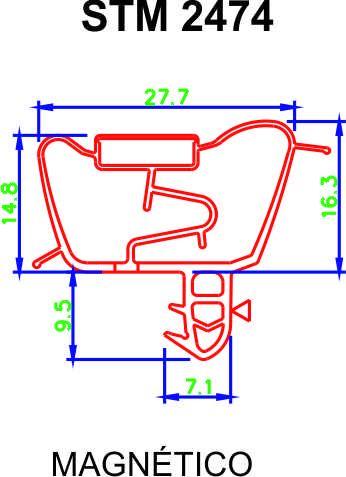 Jogo de Borracha de Geladeira - Brastemp BRD47 - Medida: Inf. 1,23 x 67 cm - Sup. 46 x 67 cm - Encaixe ** CONFIRA AS MEDIDAS **