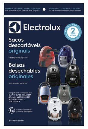 KIT COM 03 SACOS ASPIRADOR DE PÓ ELECTROLUX CSECL  - Modelos: CLARIO / CLASSIC SILENCER / POWER FORCE / AIRMAXX