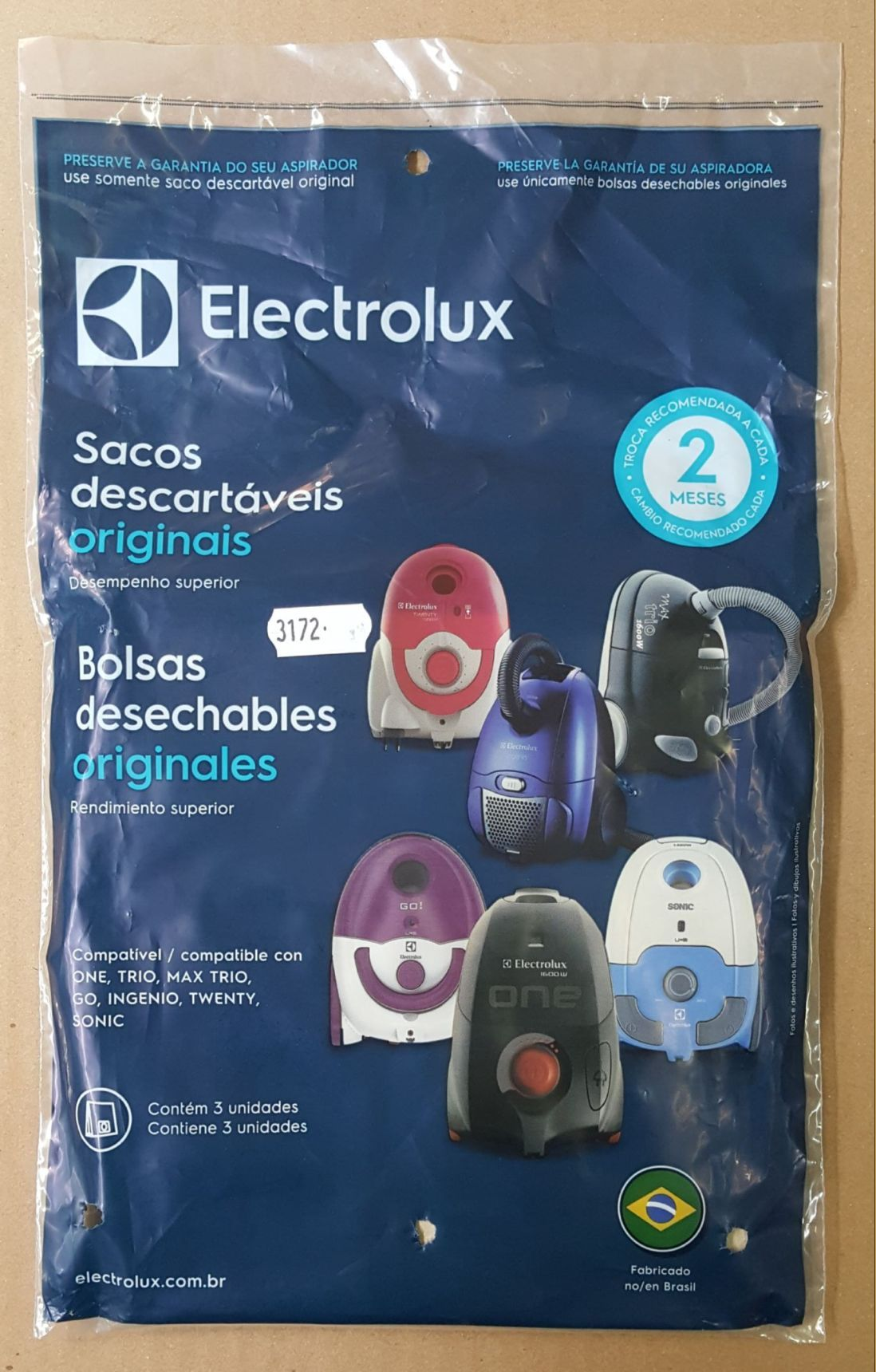 KIT COM 03 SACOS ASPIRADOR DE PÓ ELECTROLUX SBEON - Modelos: ONE / TRIO / MAX TRIO / GO / INGENIO / TWENTY / SONIC