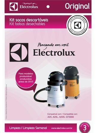 KIT COM 03 SACOS ASPIRADOR DE PÓ ELECTROLUX CSE19 - Modelos: A20 / A20L / A20S / GT3000 (Produzidos antes de 2010)