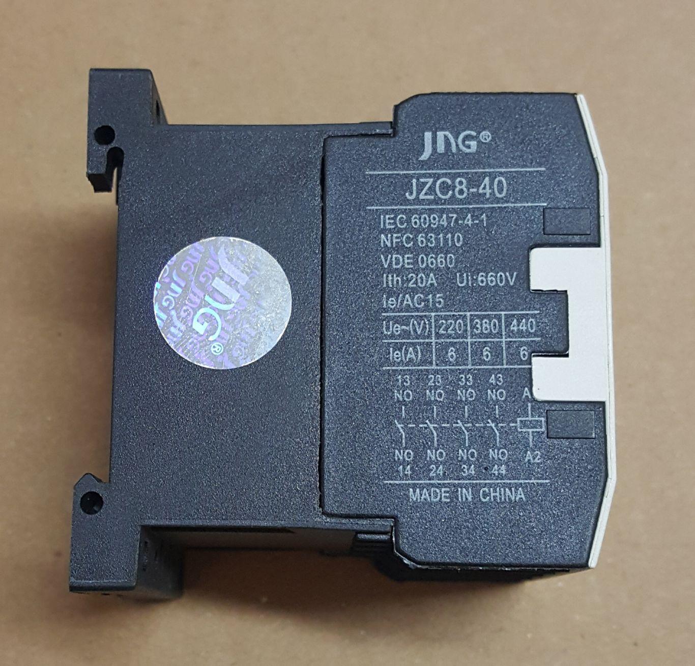 MINI CONTATOR AUXILIAR JZC8-40 (9 AMPERES) 220V FAIXA AJUSTE 20A