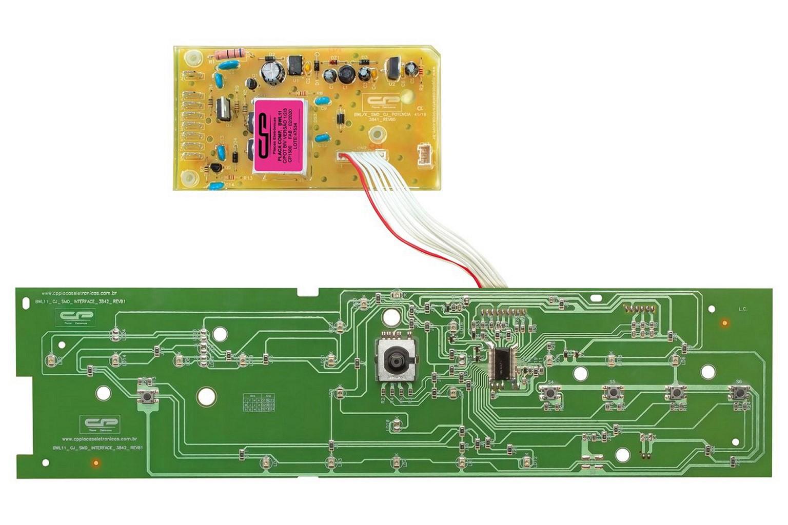 Placa compatível Lavadora Brastemp BWL11 com potência - Bivolt - Versão 1/2/3 - CP 1500