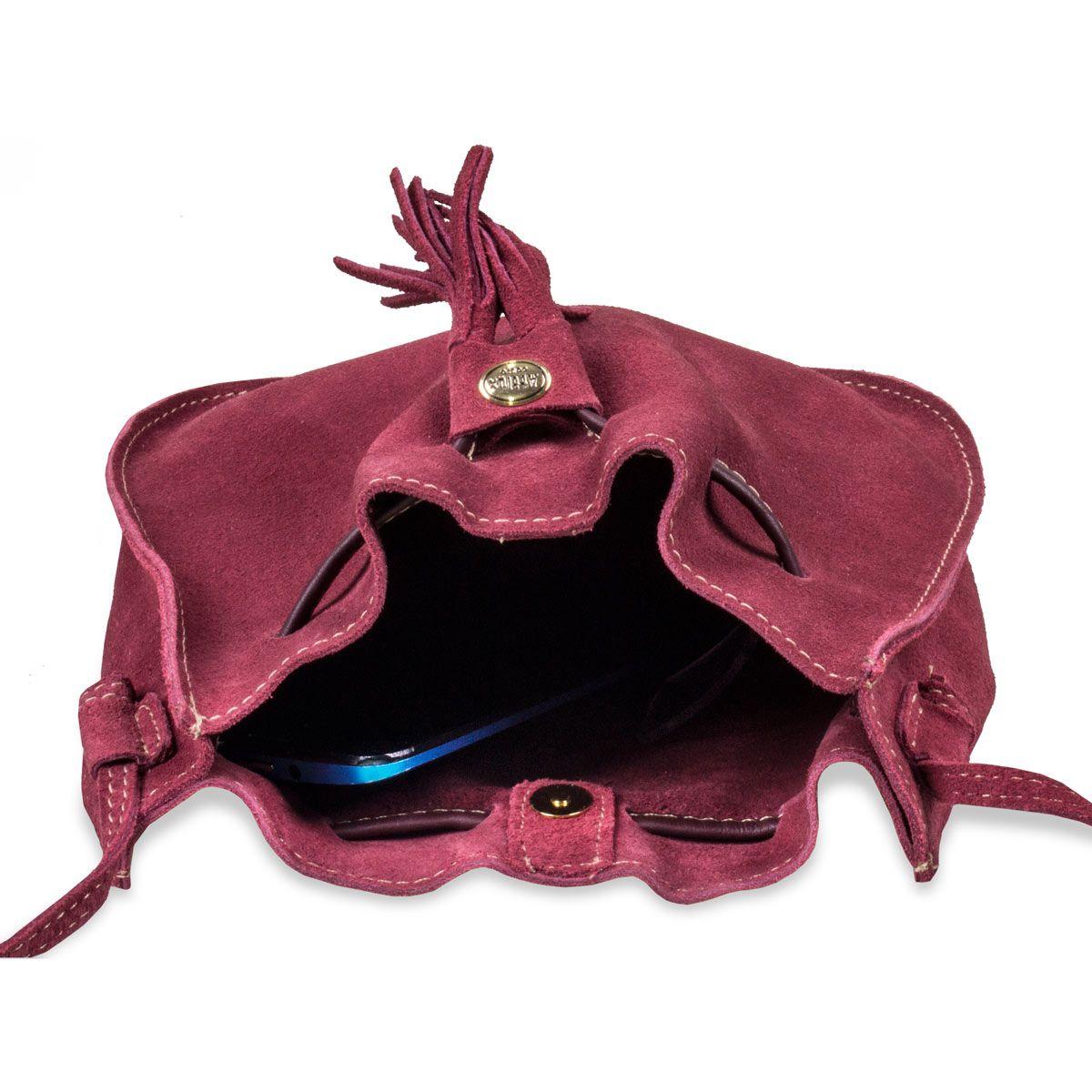 Bolsa Saco Feminina de Couro