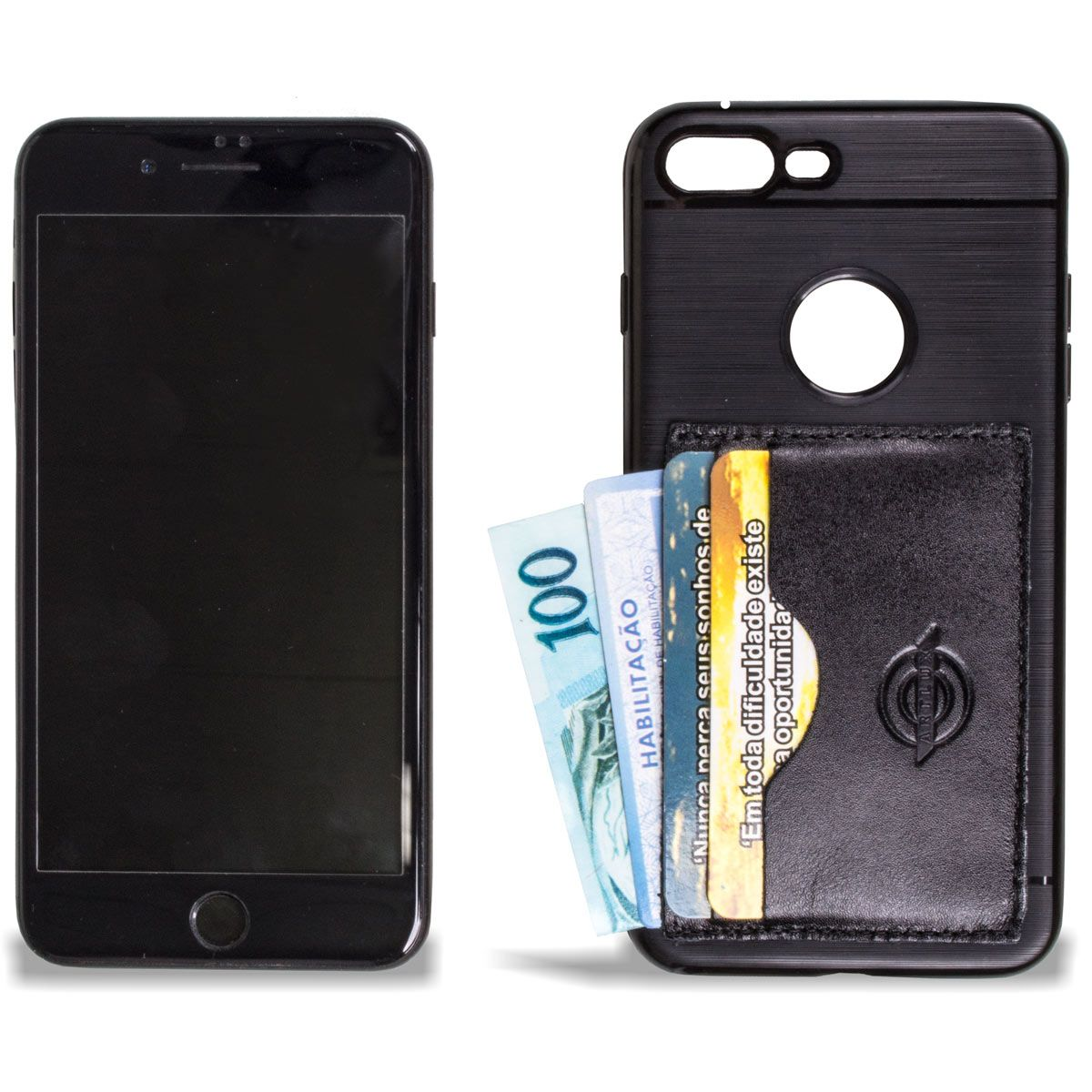 Kit Case para Iphone Plus 7 Black mais Porta Fone