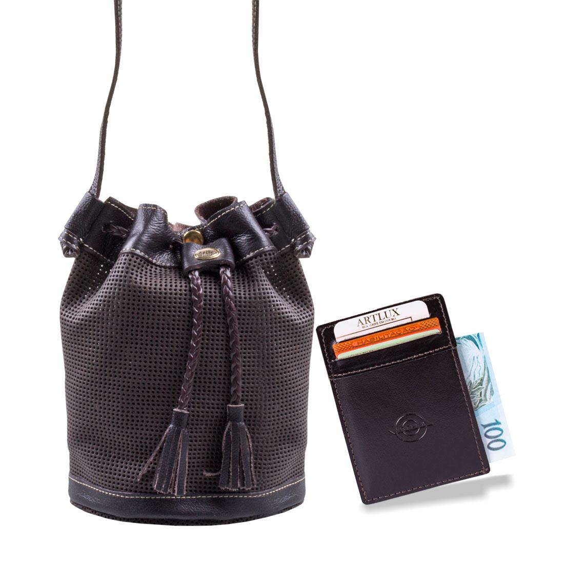 Kit Bolsa Saco Transversal + Mini Carteira Artlux