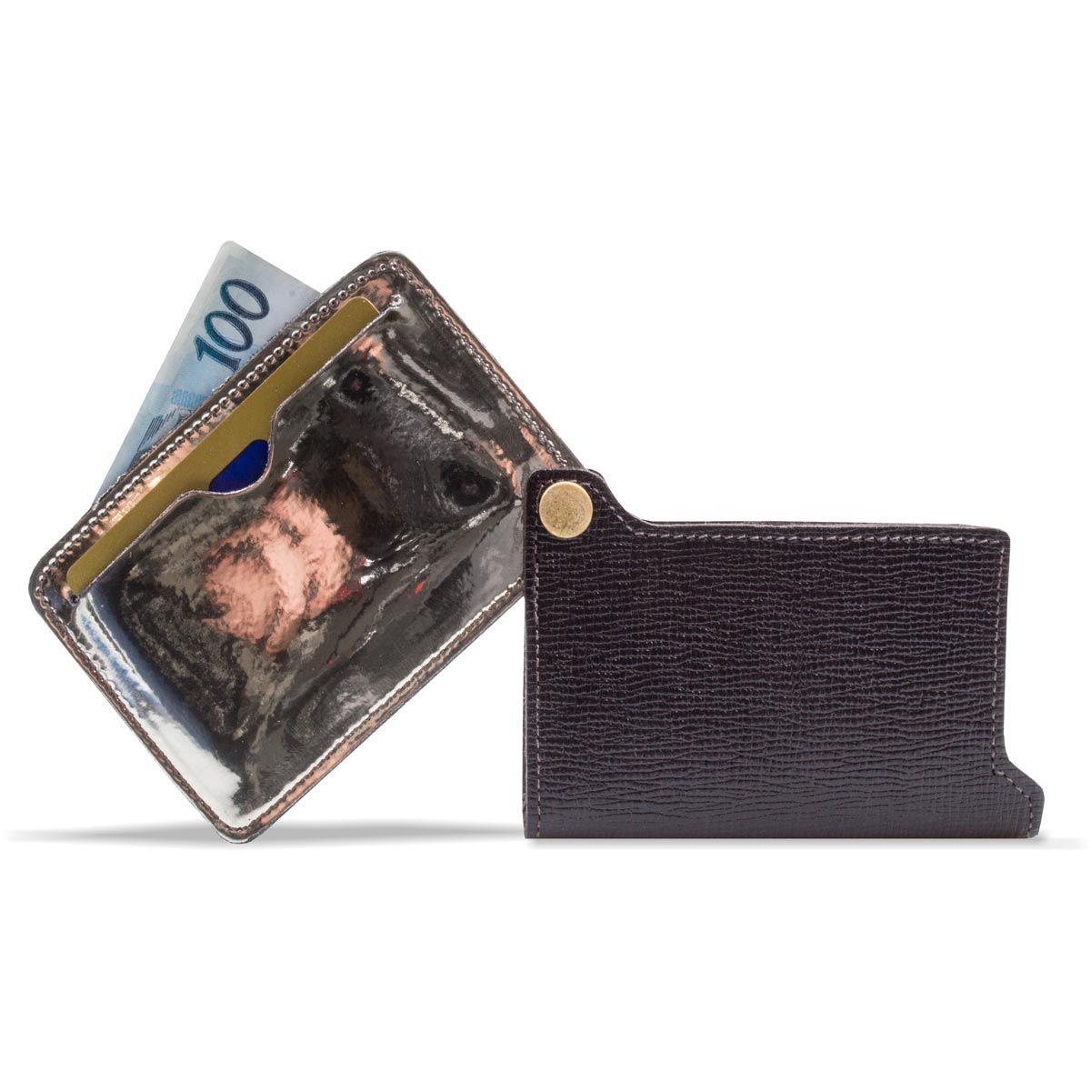 Kit Porta Cartão de Couro com Chaveiro