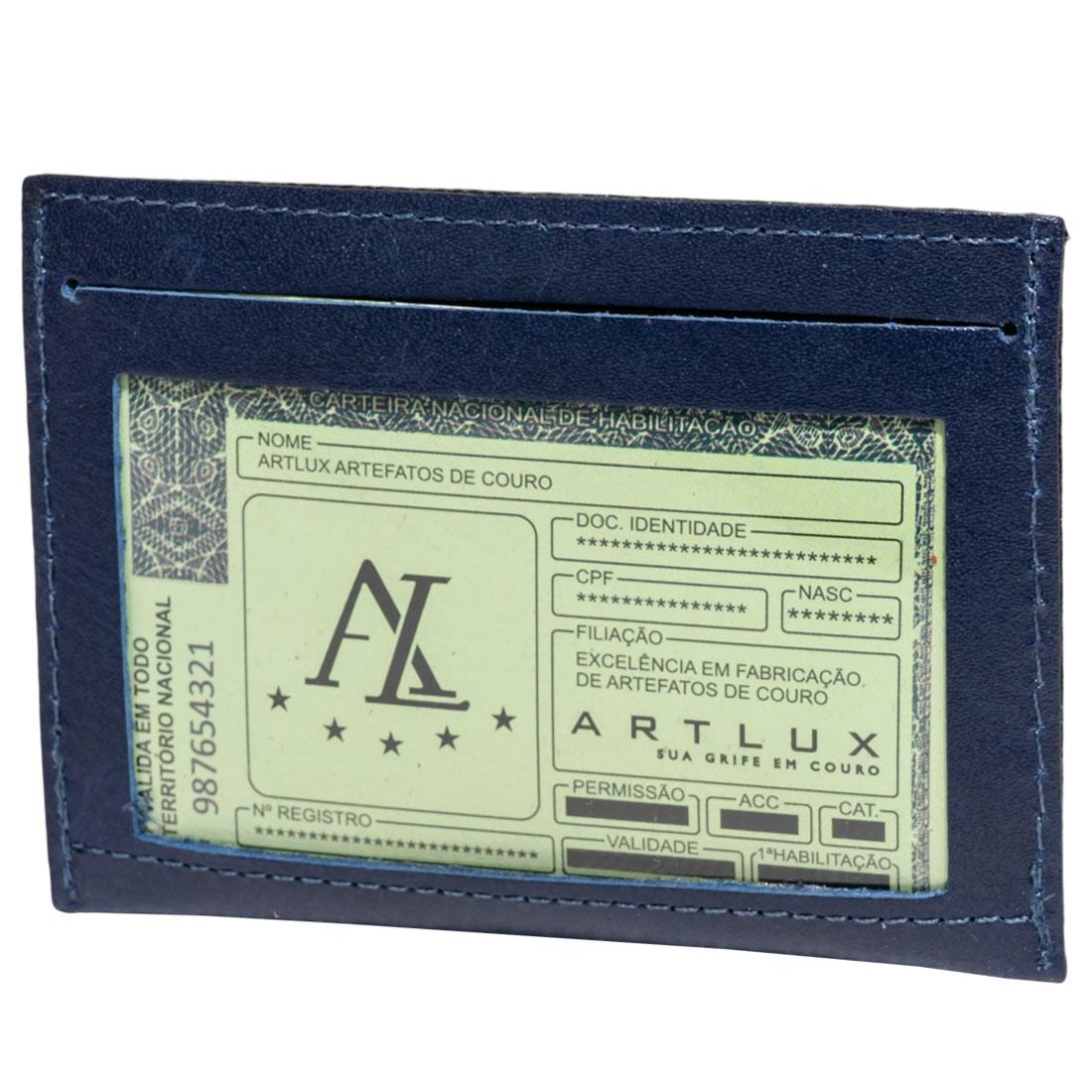 Mini Carteira para RG, CNH e Cartões em Couro Artlux