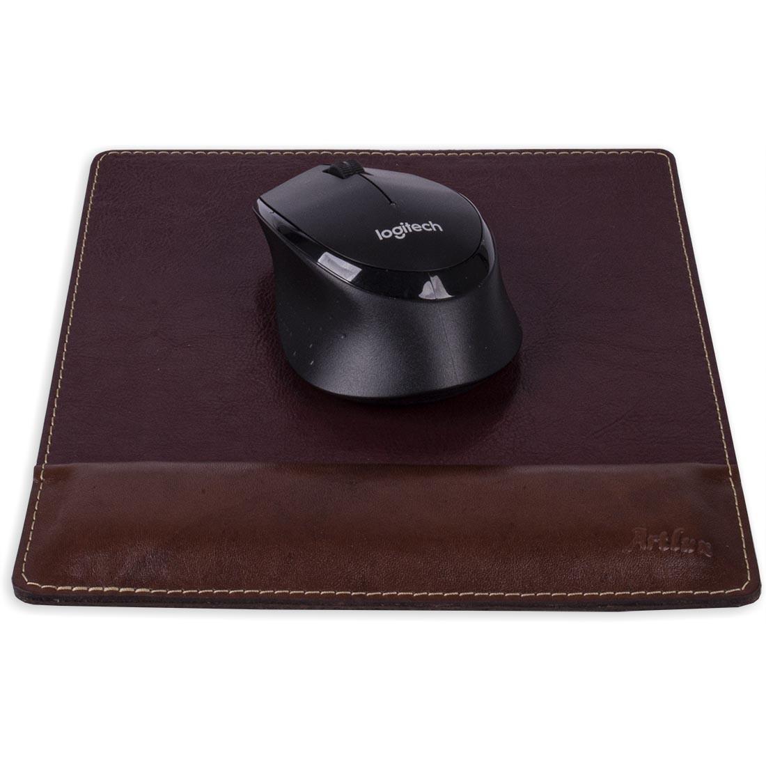 Mouse Pad com Descanso em Couro