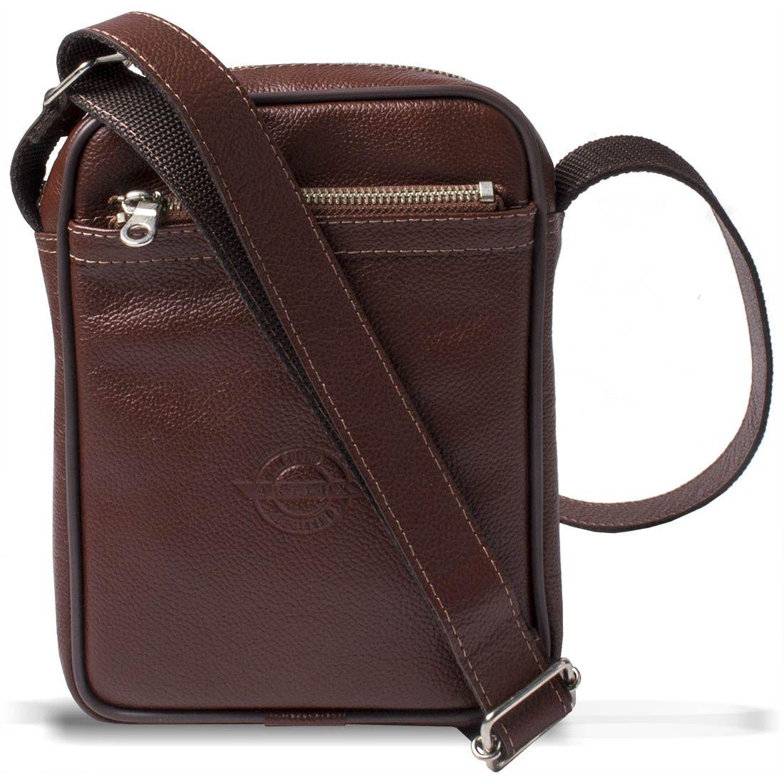 Shoulder Bag Unissex em Couro Legitimo