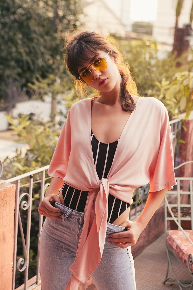 Blusa Transpassada Millenial Pink