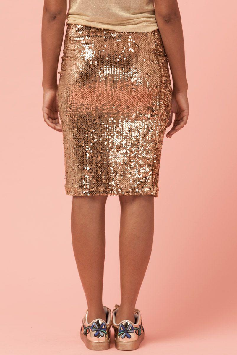 Saia Paetê Kendall Gold