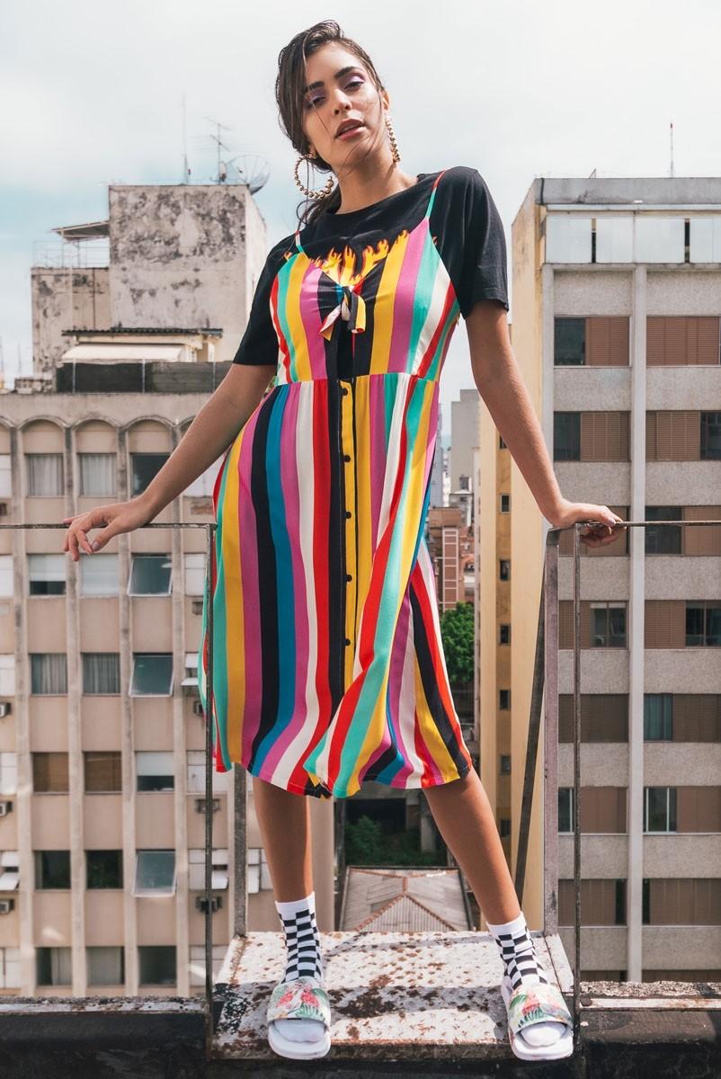 Vestido Midi Listras Rainbow