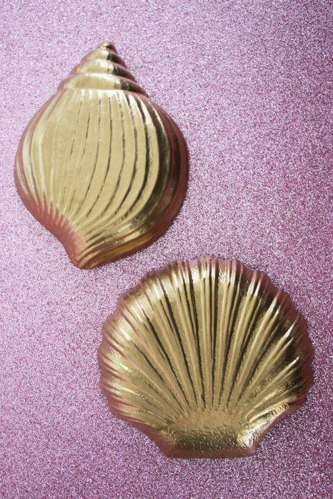 Kit Decor Porta-Jóia Conchas Metalizado