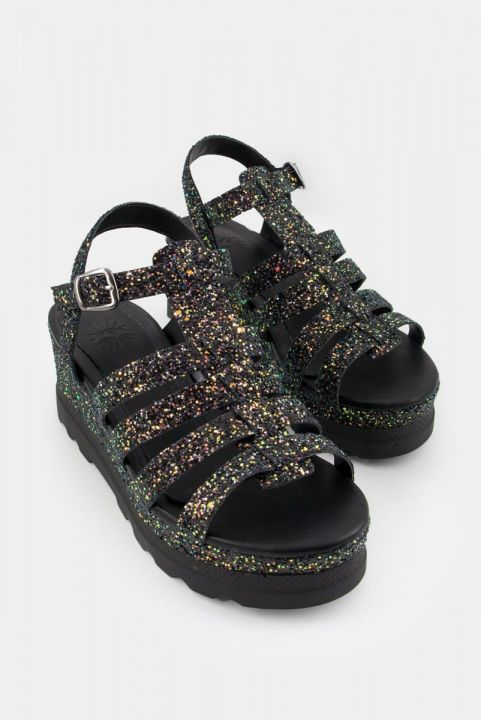Sandalia Flatform Tiras Glitter Multicolorido