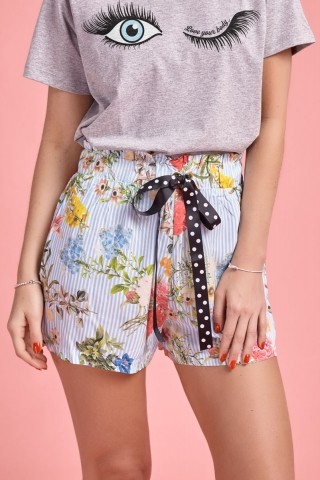 Shorts Listras Floral Azul
