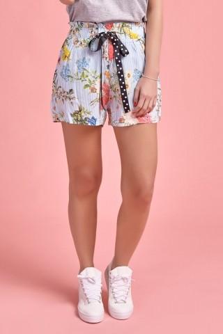 Shorts Listras Floral Azul