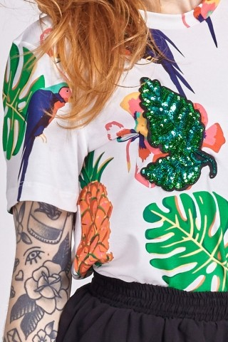 T-shirt Tropical Full Print Bordados