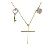 Colar Dourado Cruz e Corações Semi Joias | Linha Sabrina Joias