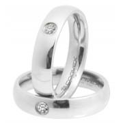Aliança de namoro em aço 5mm Prata Com Zircônia - O Par