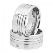 Aliança de Namoro, Compromisso Aço Chrome Triple Com Zircônia 10mm - O Par