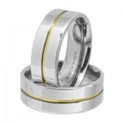 Aliança de namoro em aço reta prata 8mm com friso central dourado