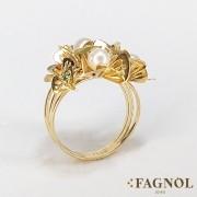 Anel Ouro 18K Flor Pérola
