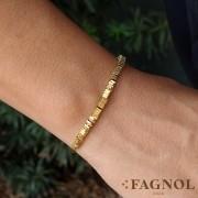 Semi jóia Pulseira Couro com Canutilhos
