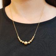 Semi joias Colar mix de bolas dourado delicado