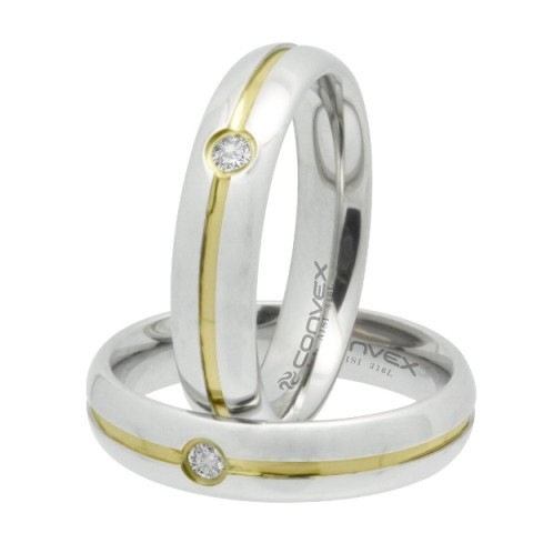 Aliança de Namoro, Compromisso Aço Max prata com ponto de zircônia 5mm - O Par