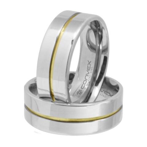Aliança de Namoro, Compromisso Aço reta prata 8mm com friso central dourado