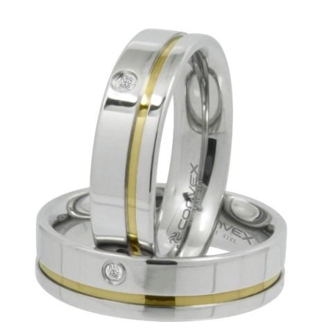 Aliança de Namoro, Compromisso Aço reta com friso dourado e ponto de zircônia 6mm - O Par