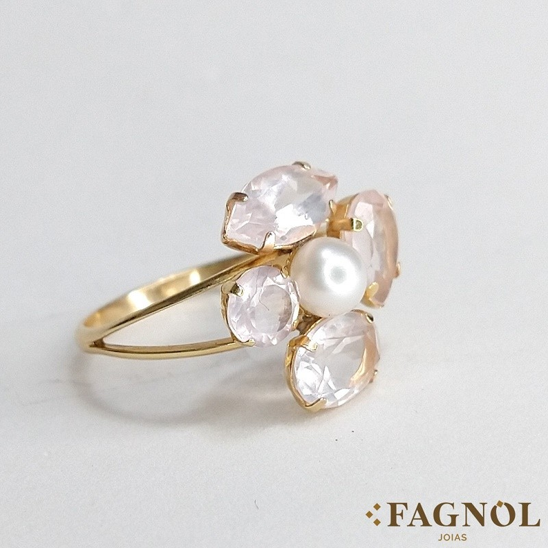 Anel Ouro 18k Pedra Com Pérola