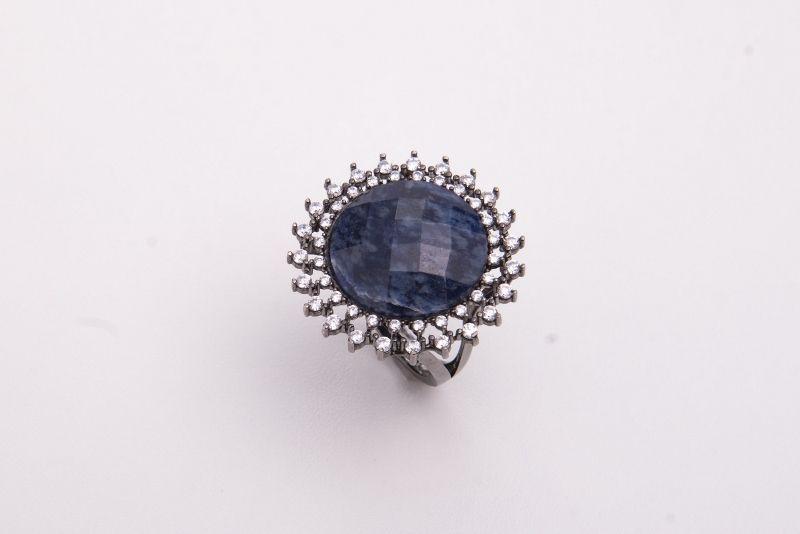 Semi joias Anel pedra natural em ródio negro