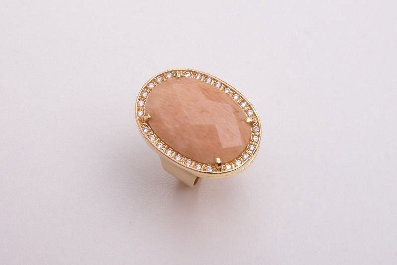 Anel semi joia pedra natural calcedonia